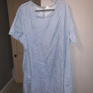 Blue stripped short sleeve dress